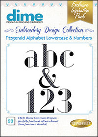 Dime Embroidery Design Collection - Fitzgerald Lowercase