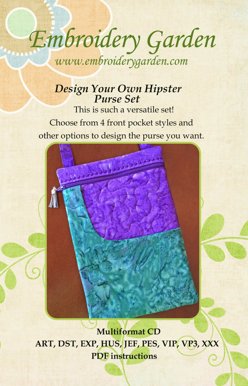 Embroidery garden design your own hipster purse set tops for Garden design your own