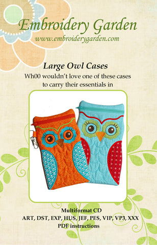 Embroidery Garden Large Owl Cases
