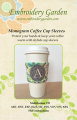 Embroidery Garden Monogram Coffee Cup Sleeves
