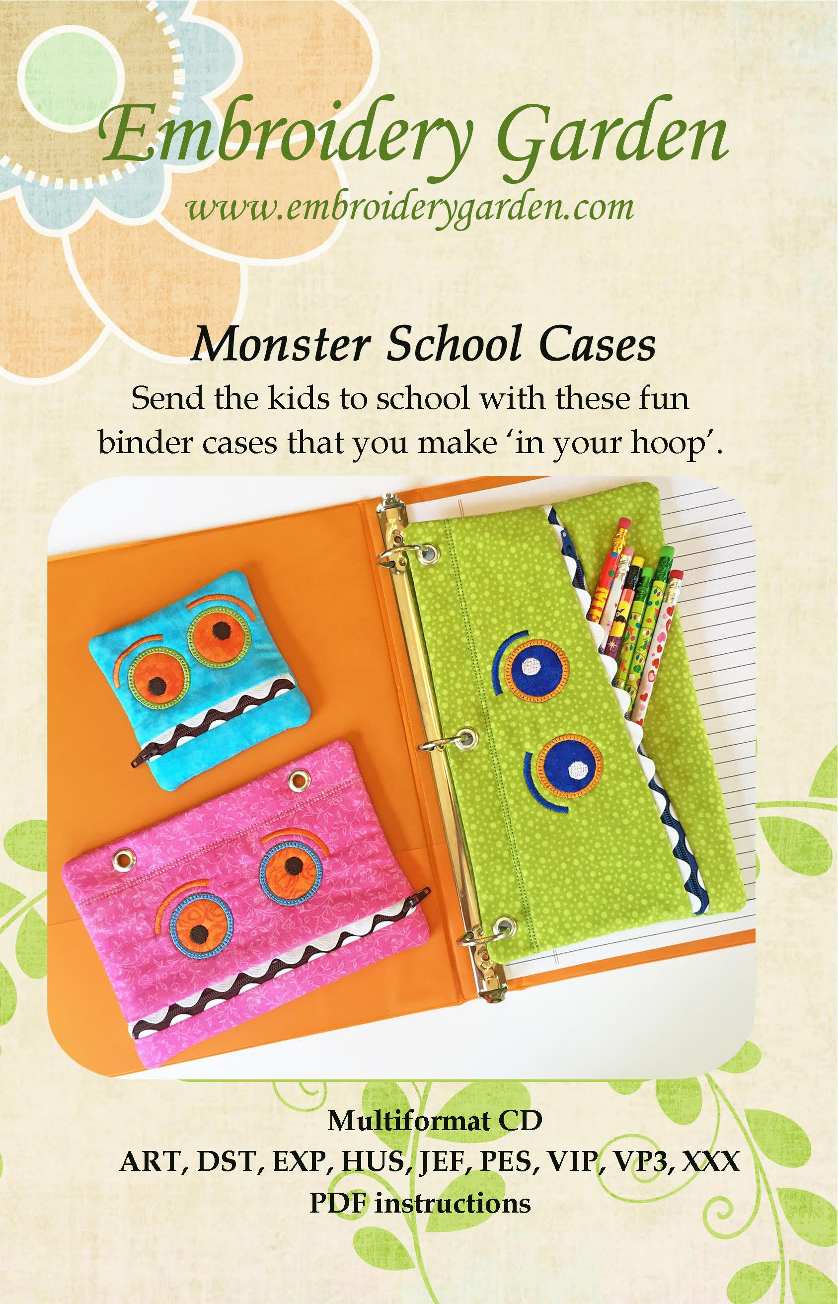 Embroidery Garden Monster School Cases