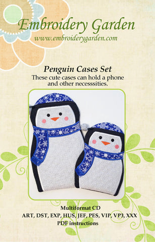 Embroidery Garden Penguin Zipper Cases Set