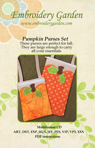 Embroidery Garden Pumpkin Purses Set