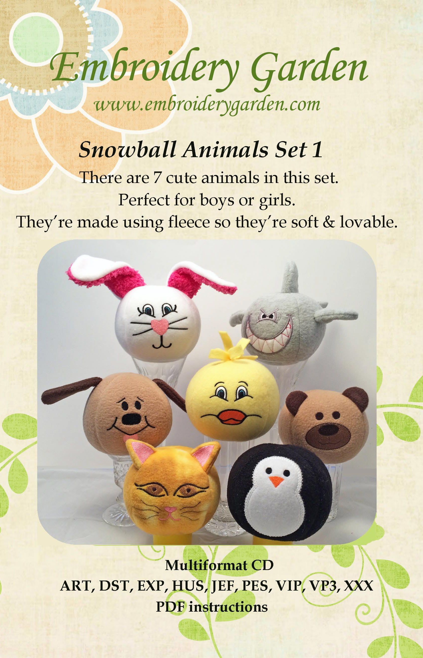 Embroidery Garden Snowball Animals Set 1 Tops Sewing Quilting Outlet