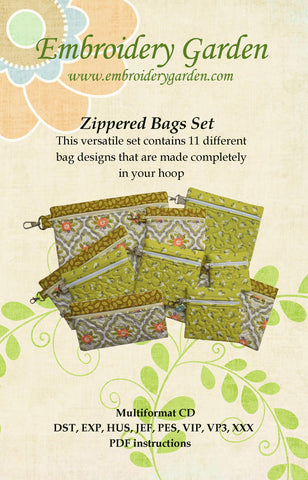 embroidery garden zippered bags set - Embroidery Garden