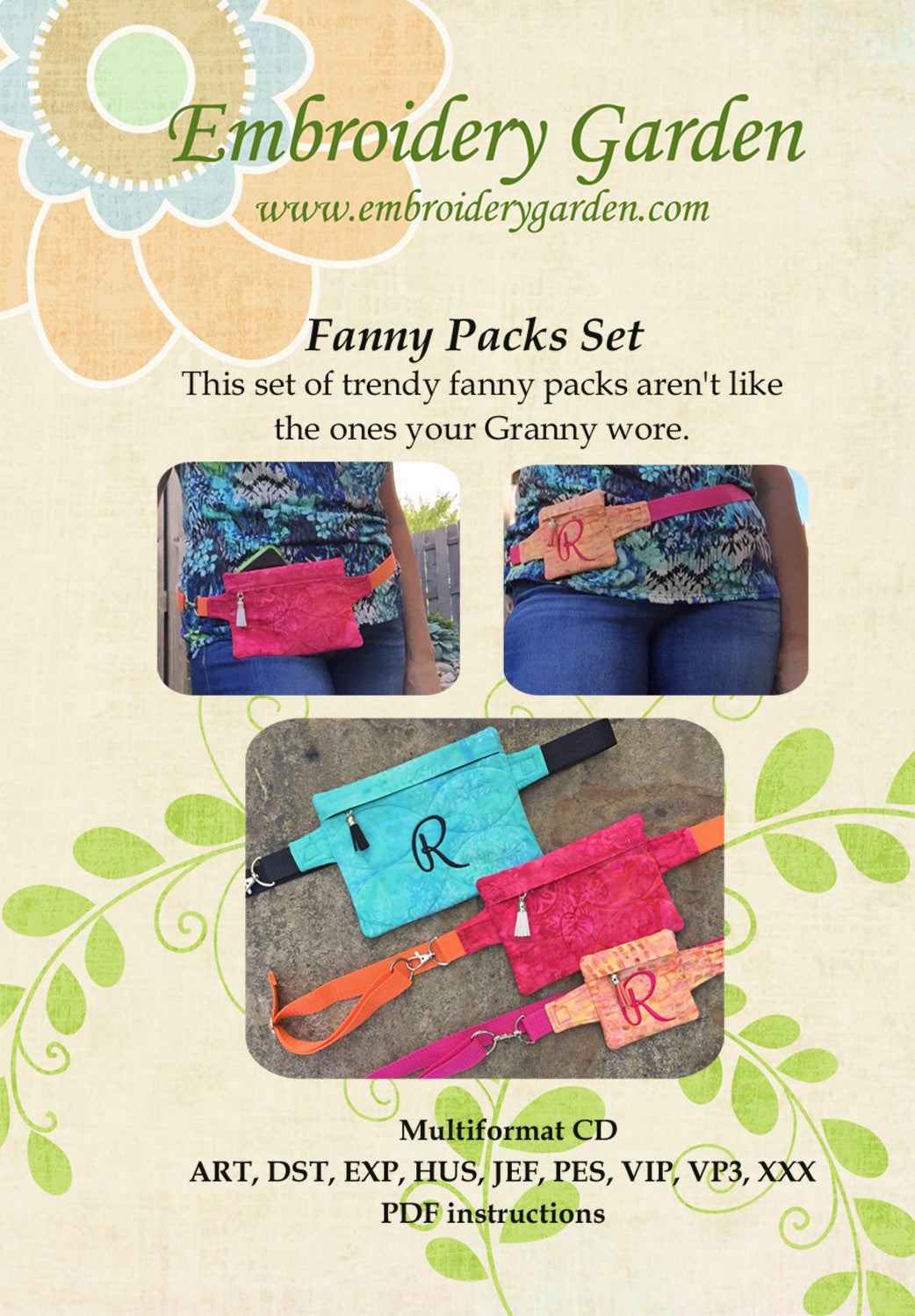 Embroidery Garden Fanny Packs Set