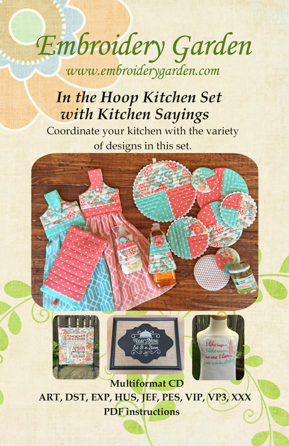 Embroidery Garden In the Hoop Kitchen Set with Sayings