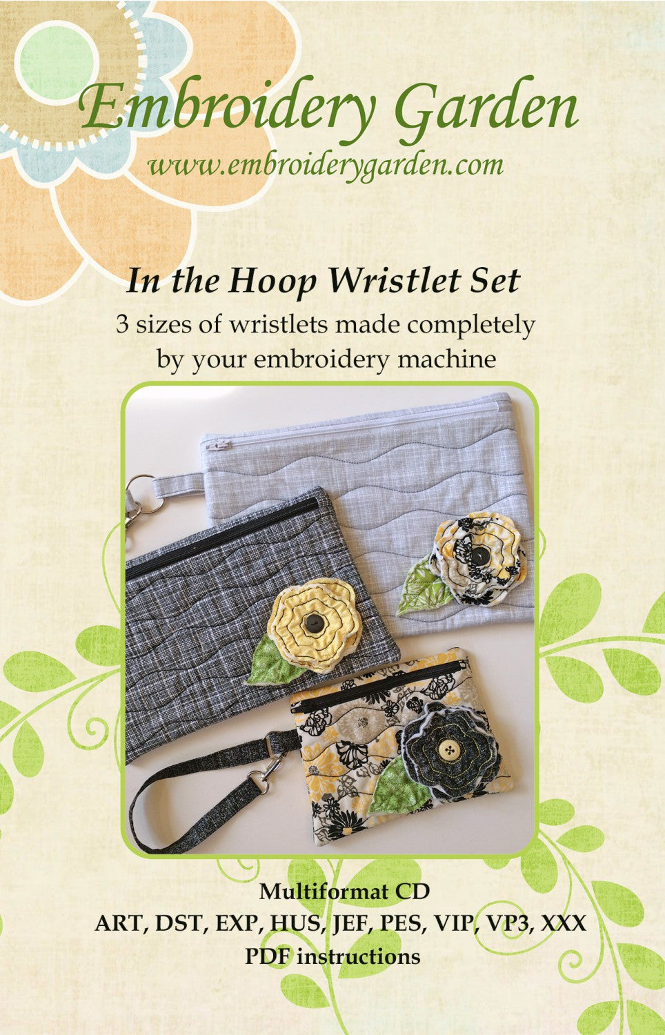 Embroidery Garden In the Hoop Wristlet Set