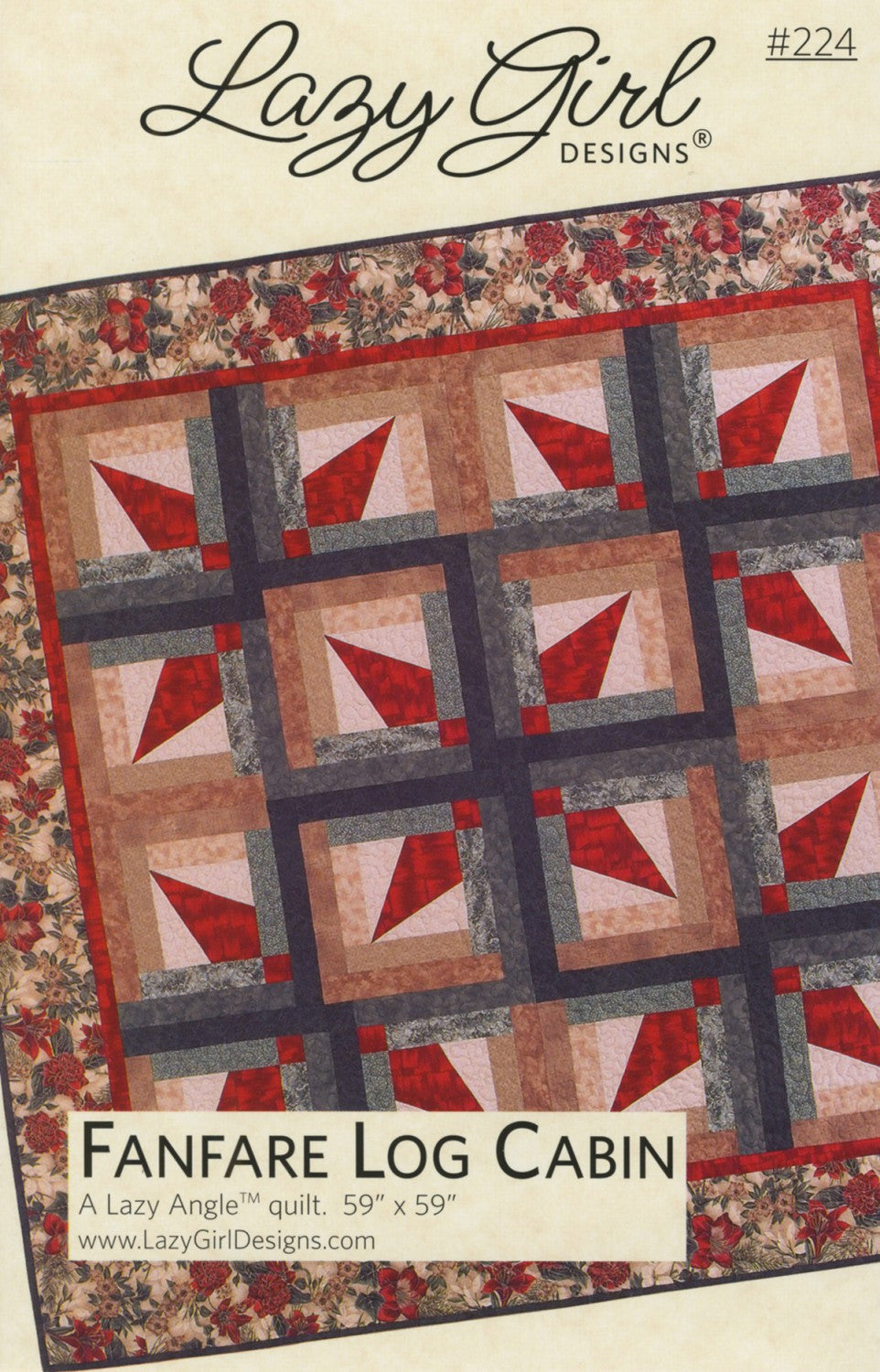 Lazy Girl Designs Fanfare Log Cabin Quilt