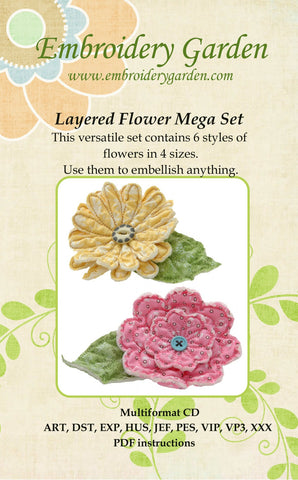 Embroidery Garden Layered Flowers Mega Set