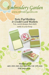 Embroidery Garden Note Pad Holders & Credit Card Wallets
