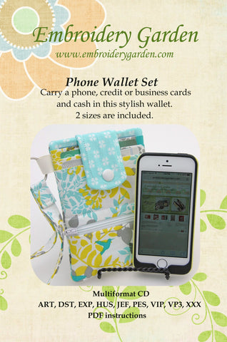 Embroidery Garden Phone Wallet Set