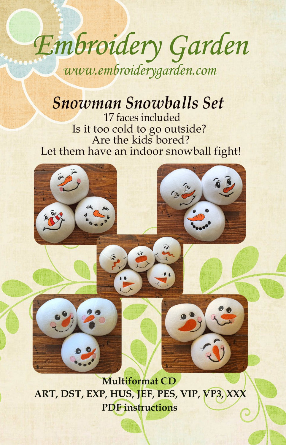 embroidery garden snowman snowballs set - Embroidery Garden