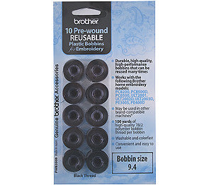 Brother PWB-200B Pre-Wound Black Embroidery Bobbin Thread 9.4 Size (10 Pack)