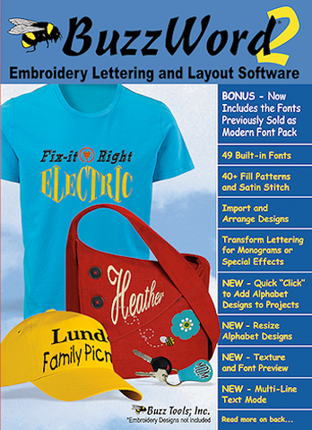 Buzz Tools BuzzWord Embroidery Lettering & and Layout Software