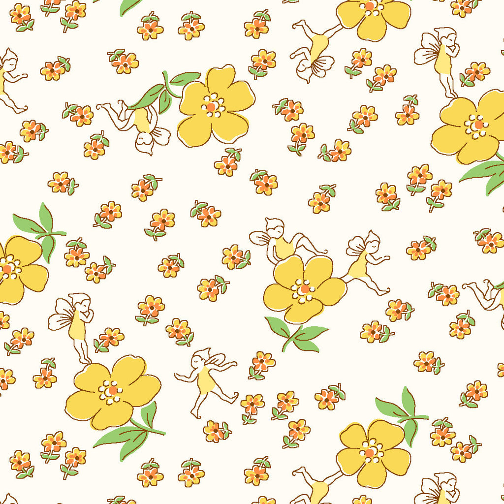 DreamWeaver yellow - Storybook Sleepytime by Whistler Studios, Windham Fabrics half yard quilting fabric - flowers floral fairies