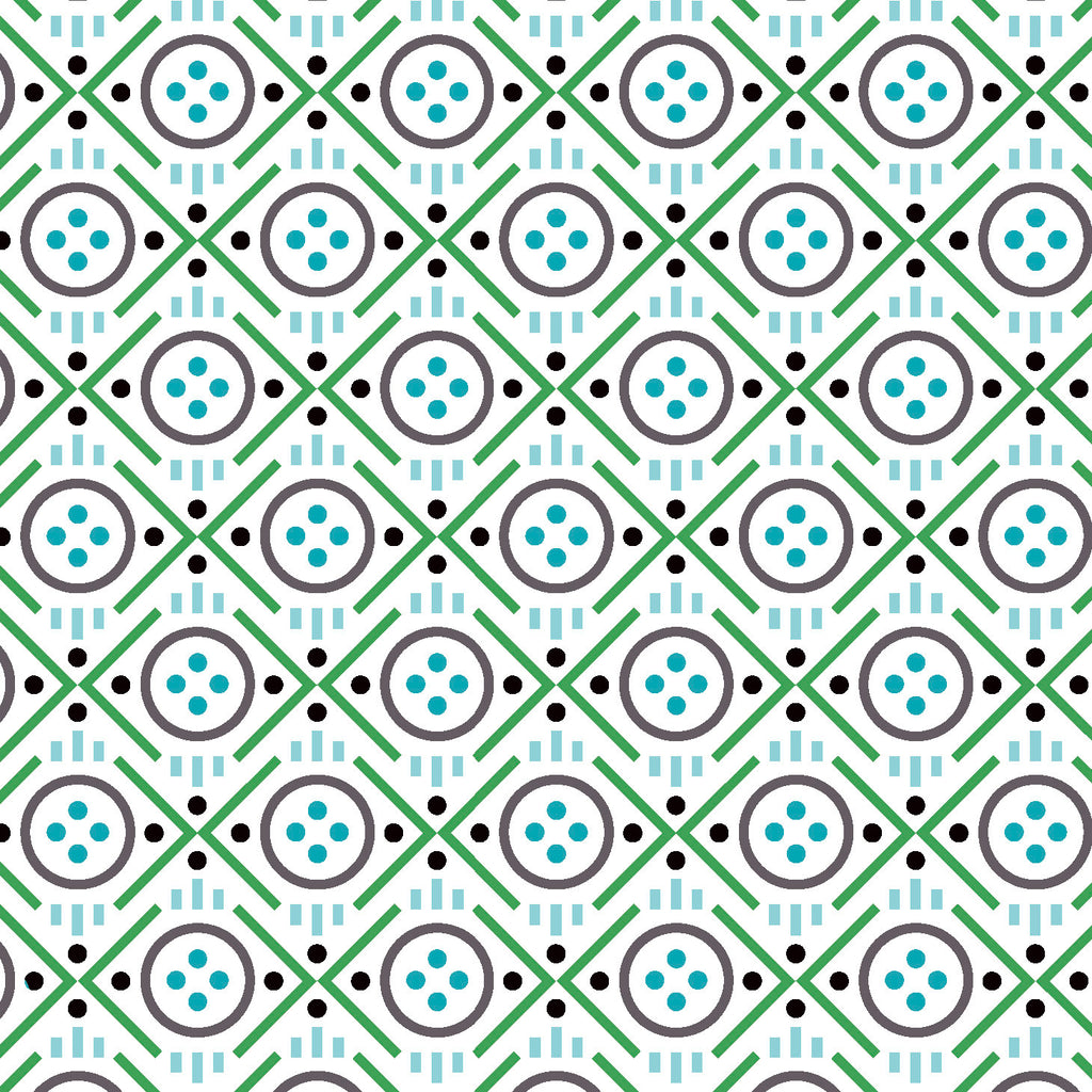 Uppercase Vol. 2 Button Green - Janine Vangool - Windham Fabrics half yard quilting fabric - circle grey white turquoise