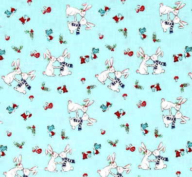 Pixie Noel bunnies aqua - Tasha Noel - Riley Blake Designs half yard quilting fabric - bunny rabbits kissing bunnies mushroom birds holly