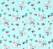 Load image into Gallery viewer, Pixie Noel bunnies aqua - Tasha Noel - Riley Blake Designs half yard quilting fabric - bunny rabbits kissing bunnies mushroom birds holly