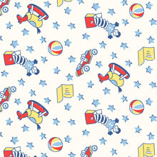Load image into Gallery viewer, Toys blue - Storybook Sleepytime by Whistler Studios, Windham Fabrics half yard quilting fabric - rocking horse book ball stars race car