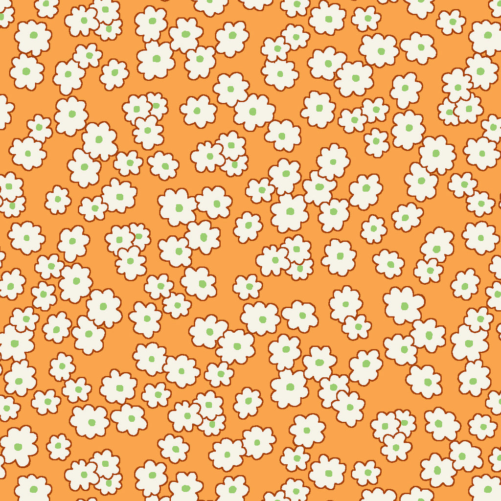 Mini floral peach - Storybook Sleepytime by Whistler Studios, Windham Fabrics half yard quilting fabric - orange white red