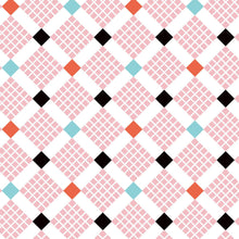 Load image into Gallery viewer, Uppercase Vol. 2 Feed Sack Pink - Janine Vangool - Windham Fabrics half yard quilting fabric - square diamond red black white turquoise