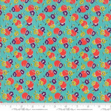Load image into Gallery viewer, Beach Road Geometric Posie aqua - Jen Kingwell - Moda Fabrics half yard quilting fabric - floral purple