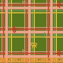 Load image into Gallery viewer, Sugarplum - Heather Ross - Windham Fabrics half yard quilting fabric - plaid green pink red yellow