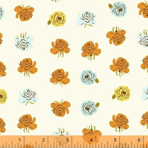 Far Far Away 2 Roses - Heather Ross - Windham Fabrics half yard quilting fabric - flowers white orange blue yellow