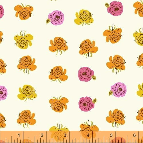 Far Far Away 2 Roses - Heather Ross - Windham Fabrics half yard quilting fabric - flowers white orange yellow pink
