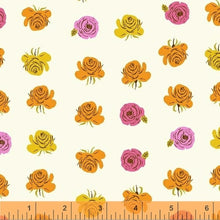 Load image into Gallery viewer, Far Far Away 2 Roses - Heather Ross - Windham Fabrics half yard quilting fabric - flowers white orange yellow pink