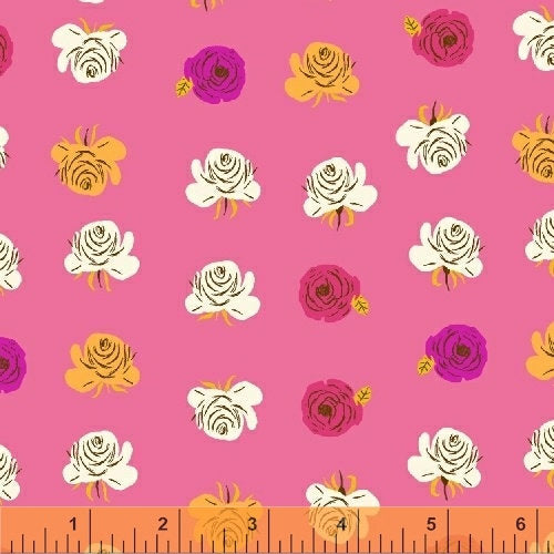 Far Far Away 2 Roses - Heather Ross - Windham Fabrics half yard quilting fabric - flowers pink yellow white