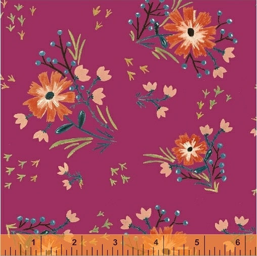 Bungalow Large Floral Fuchsia - Amy Gibson - Windham Fabrics half yard quilting fabric - flowers pink yellow orange blue green