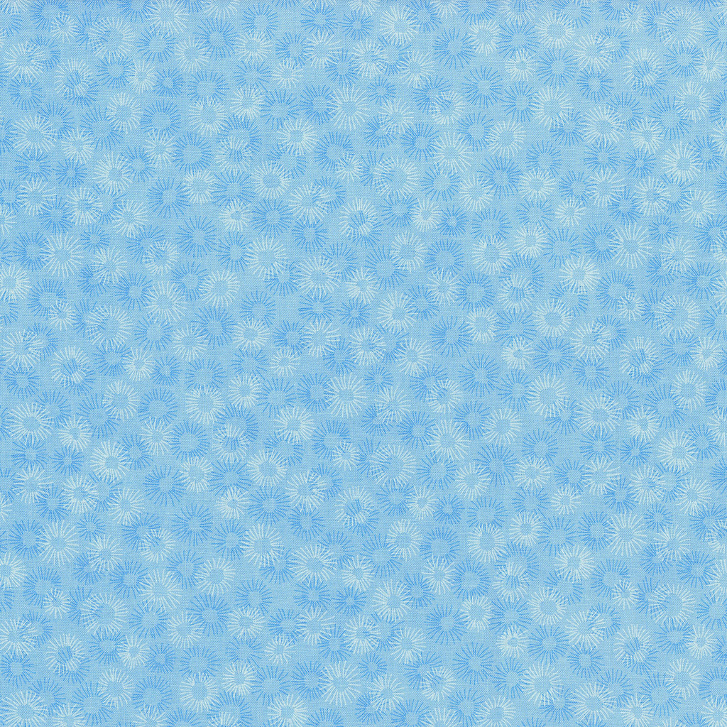 Hopscotch Deconstructed Dandelions Sky - RJR Fabrics half yard quilting fabric - blue