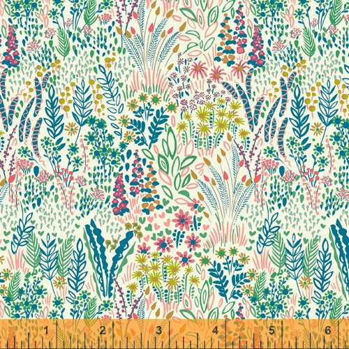 Sally Kelly Solstice - 51929-4 - Windham Fabrics half yard fabric - floral flowers