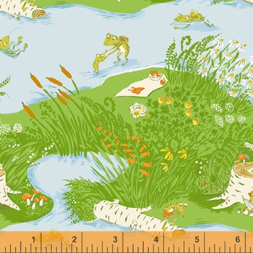 Heather Ross 20th Anniversary - 37022A-1 - Windham Fabrics half yard fabric - frog picnic pond lake cattails