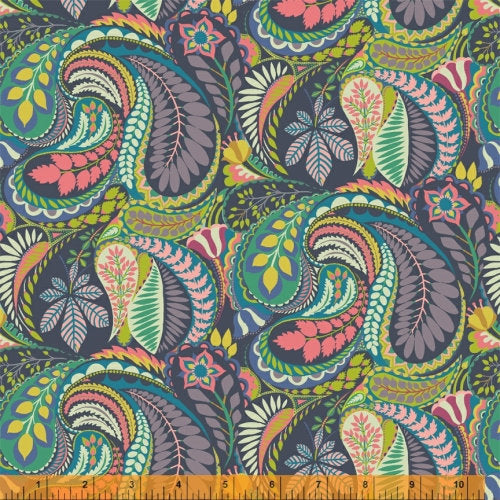 Sally Kelly Solstice - 51928-X - Windham Fabrics half yard fabric - floral flowers feathers