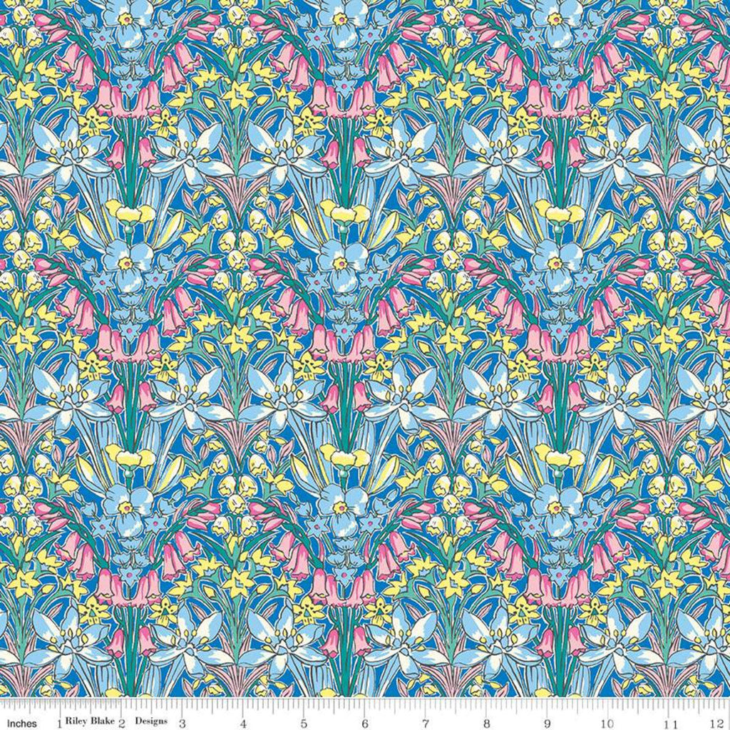 High Summer Flower Show Adlington Hall B - Riley Blake Designs half yard fabric - Liberty of London blue pink