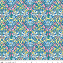 Load image into Gallery viewer, High Summer Flower Show Adlington Hall B - Riley Blake Designs half yard fabric - Liberty of London blue pink