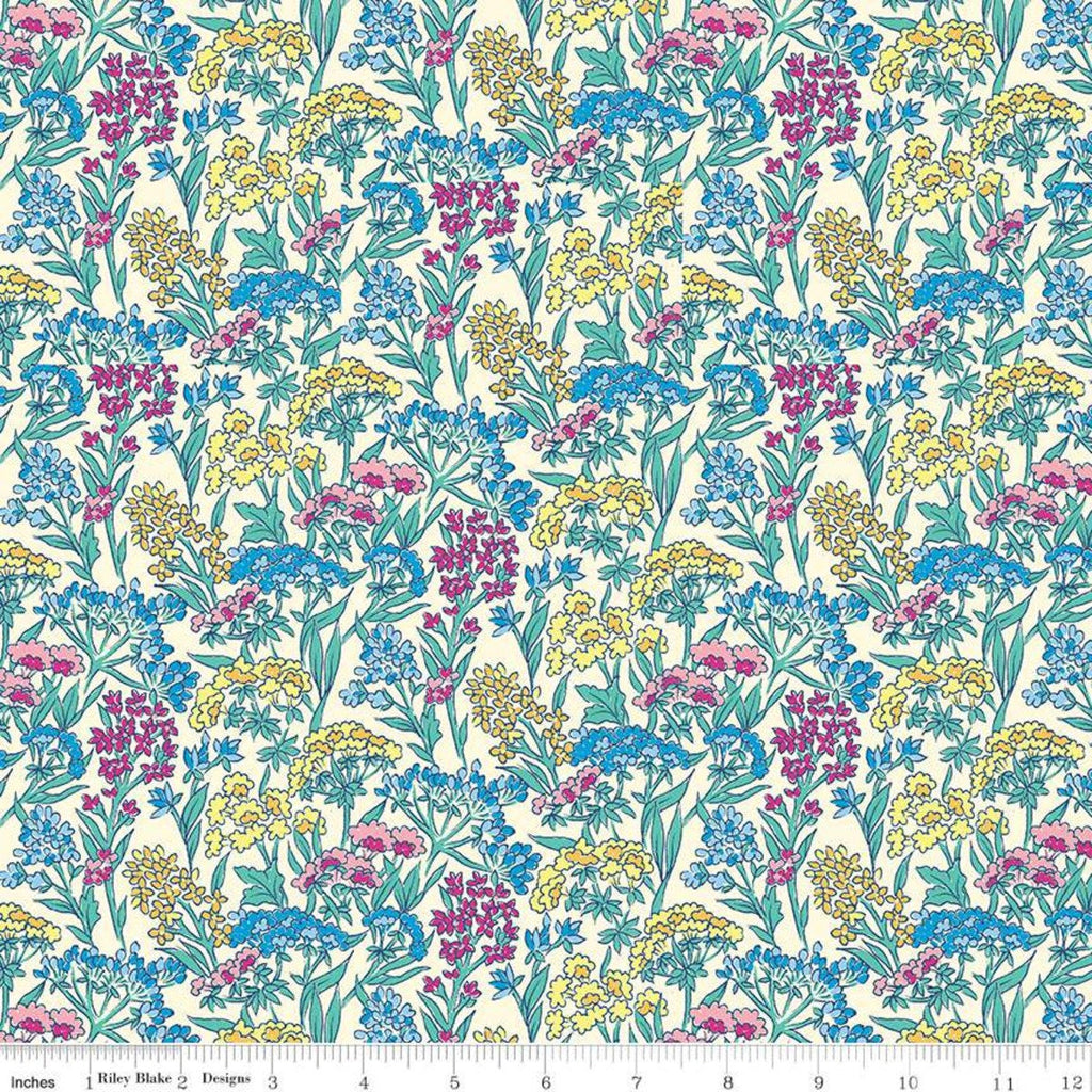 High Summer Flower Show Yorkshire Meadow B - Riley Blake Designs half yard fabric - Liberty of London pink yellow
