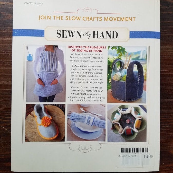 Sewn By Hand by Susan Wasinger, Sewing Book, Hand Sewing Patterns, Hand Sewing Book