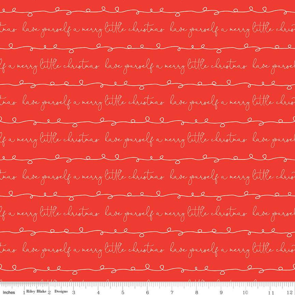 Merry Little Christmas - Writing red - Sandy Gervais - Riley Blake Designs half yard fabric - holiday