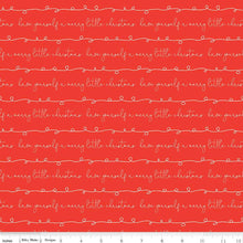 Load image into Gallery viewer, Merry Little Christmas - Writing red - Sandy Gervais - Riley Blake Designs half yard fabric - holiday