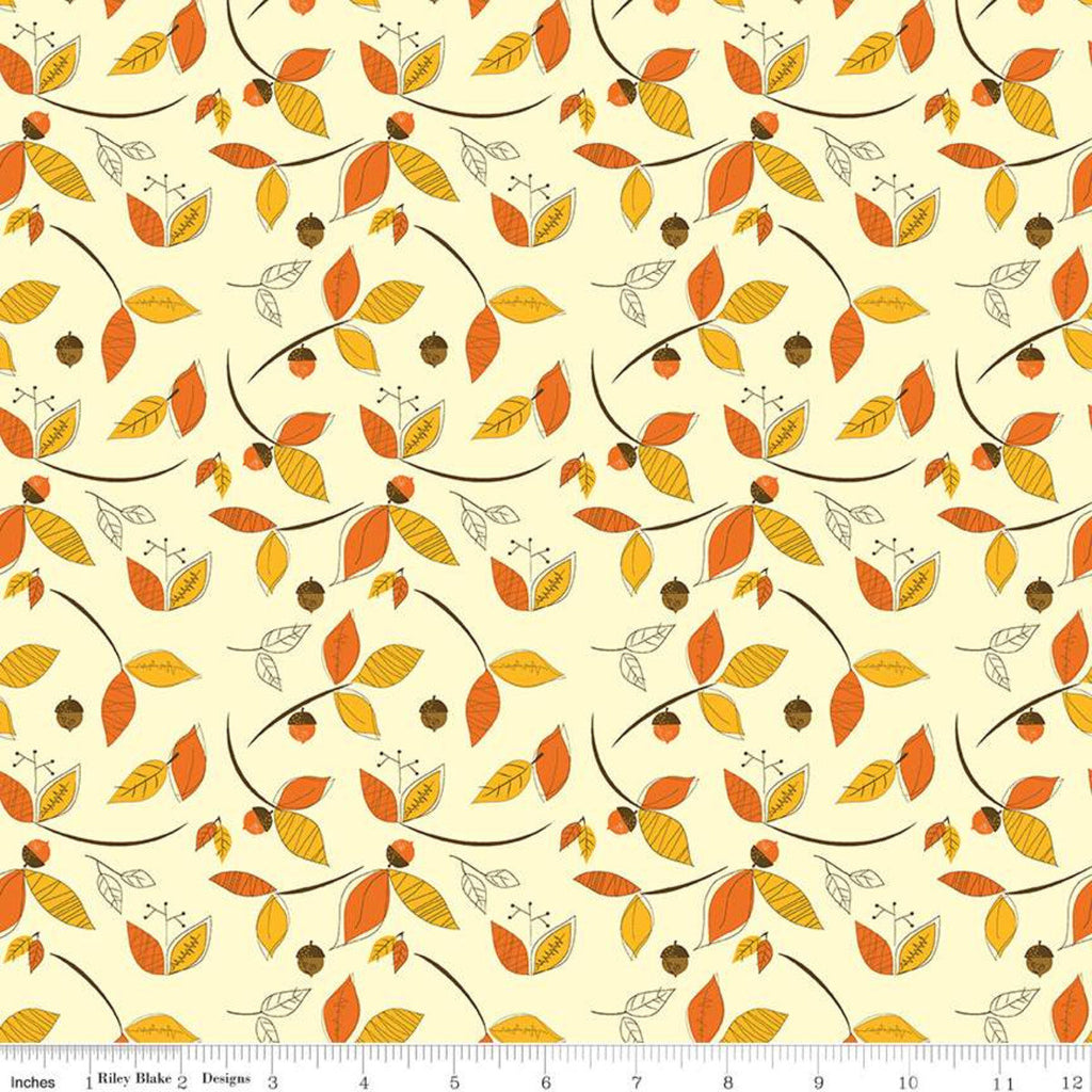 Give Thanks - Leaves cream - Sandy Gervais - Riley Blake Designs half yard fabric - holiday