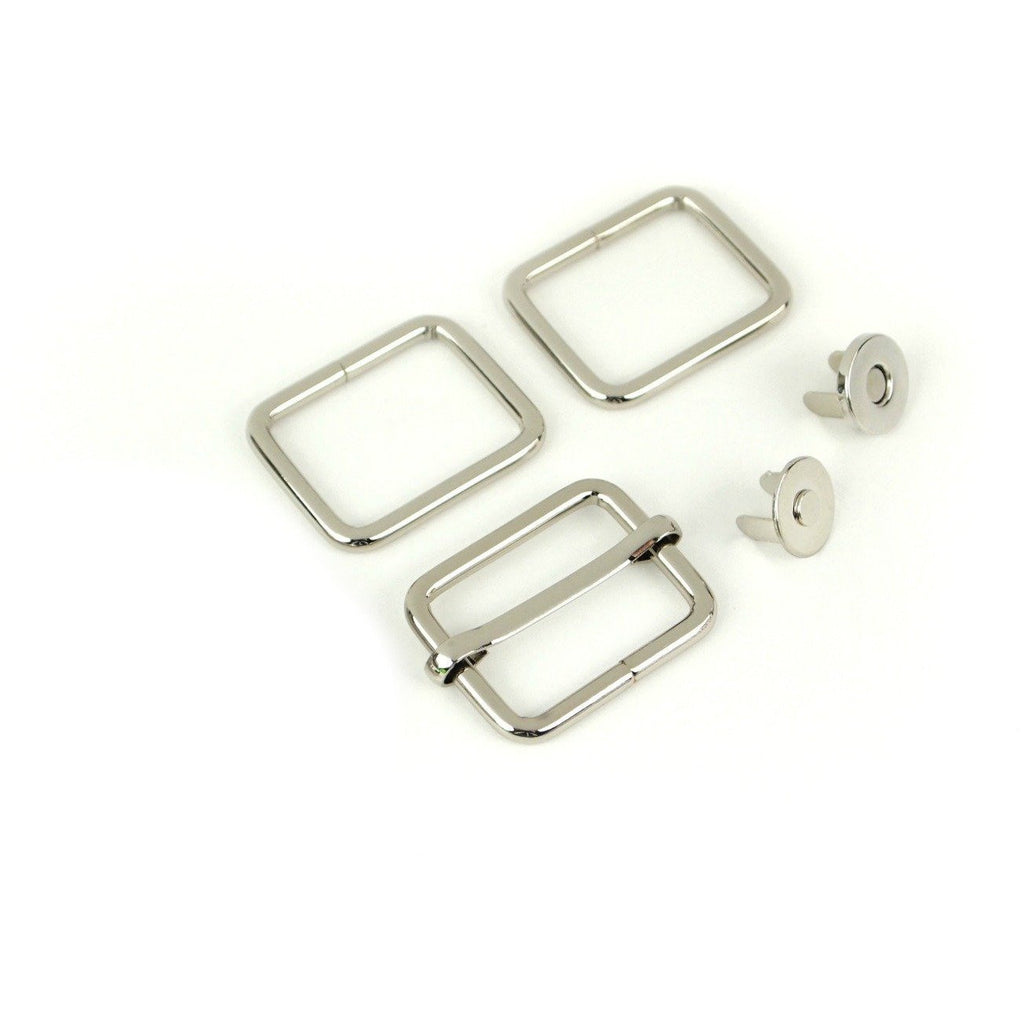 Holly Hardware Kit in Silver by Sallie Tomato, Sallie Tomato, bag making hardware, purse making supplies