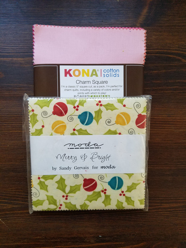 Set of 2 Charm Packs - Kona Solids Brights - Robert Kaufman- Merry and Bright- Sandy Gervais- Moda Fabrics - Charm Packs - 5 inch precuts