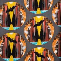 Charley Harper Halloween - Bat Cave - Poplin - Organic Cotton - Birch Fabrics half yard fabric