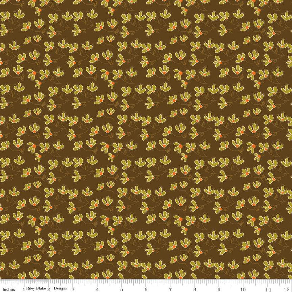 Give Thanks - Blossoms brown - Sandy Gervais - Riley Blake Designs half yard fabric - holiday
