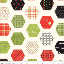 Load image into Gallery viewer, Merry Little Christmas - Hexie cream - Sandy Gervais - Riley Blake Designs half yard fabric - holiday