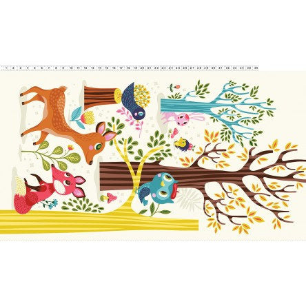 Forest Babes 2915-55 - Helen Dardik - Clothworks Fabrics - Quilt Fabric Panel - quilting fabric - multi color